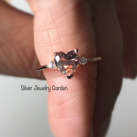 Heart Shape White CZ Diamond /& Morganite Engagement Wedding Solitaire Leaf Ring 14K Rose Gold Plated